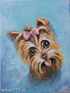 Маленькая-собачка-портрет-маслом