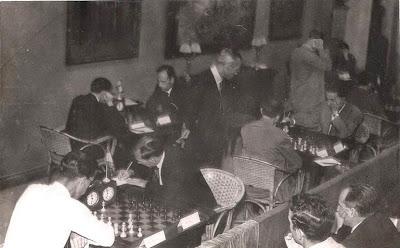 Sala de juego del Match Internacional de Ajedrez Interclubs 1951
