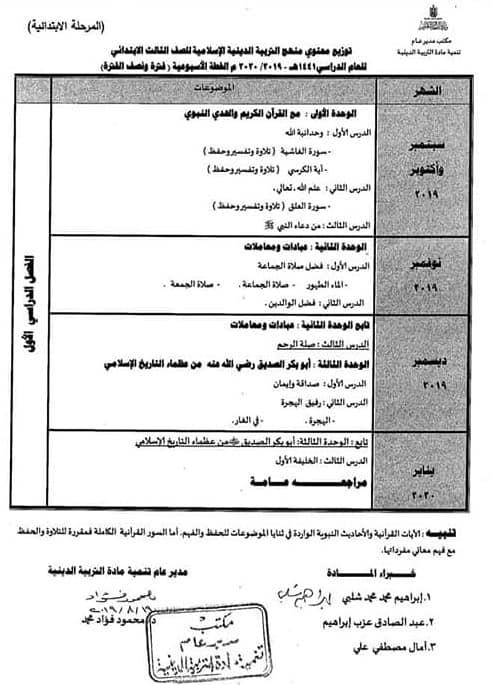 توزيع مناهج التربية الدينية الاسلامية لكل الصفوف و المراحل (ابتدائي - اعدادي - ثانوي) للعام الدراسي 2019 / 2020 3