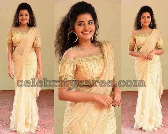Anupama Parameswaran in Stripes Designer Saree