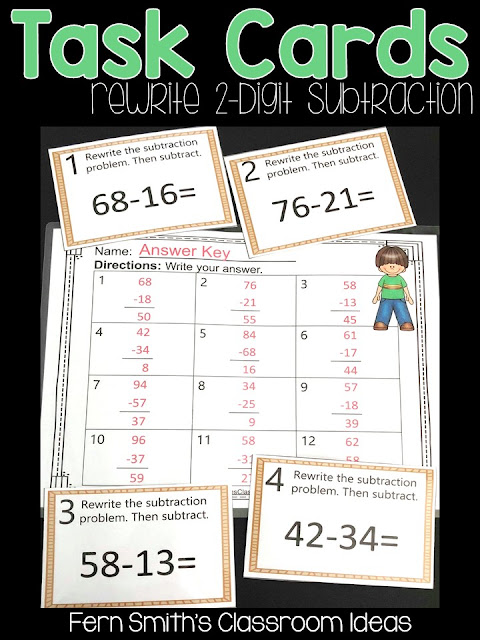 Second Grade Go Math 5.7 Rewrite Two Digit Subtraction Task Cards
