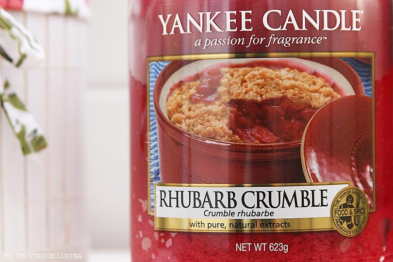 etykieta świecy yankee candle rhubarb crumble