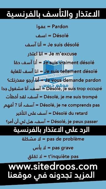 الاعتذار والتأسف بالفرنسية - جمل وعبارات مترجمة