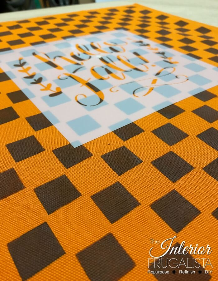 Checkered Fall Pillows Stencil Overlay