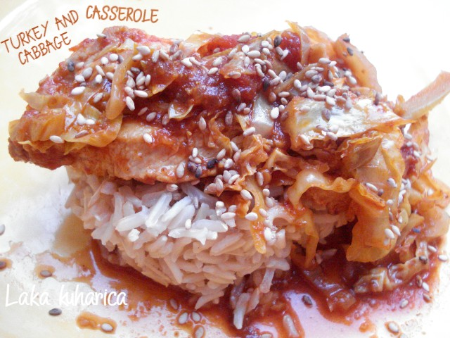 Turkey and cabbage casserole by Laka kuharica: unusual, aromatic and simple all-in -one dish.