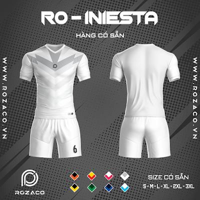 Áo Không Logo Rozaco RO-INIESTA Màu Trắng