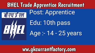 BHEL Trade Apprentice Recruitment, BHEL Recruitment