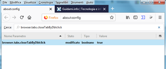 Pagina about config di Firefox stringa browser.tabs.closeTabByDblclick