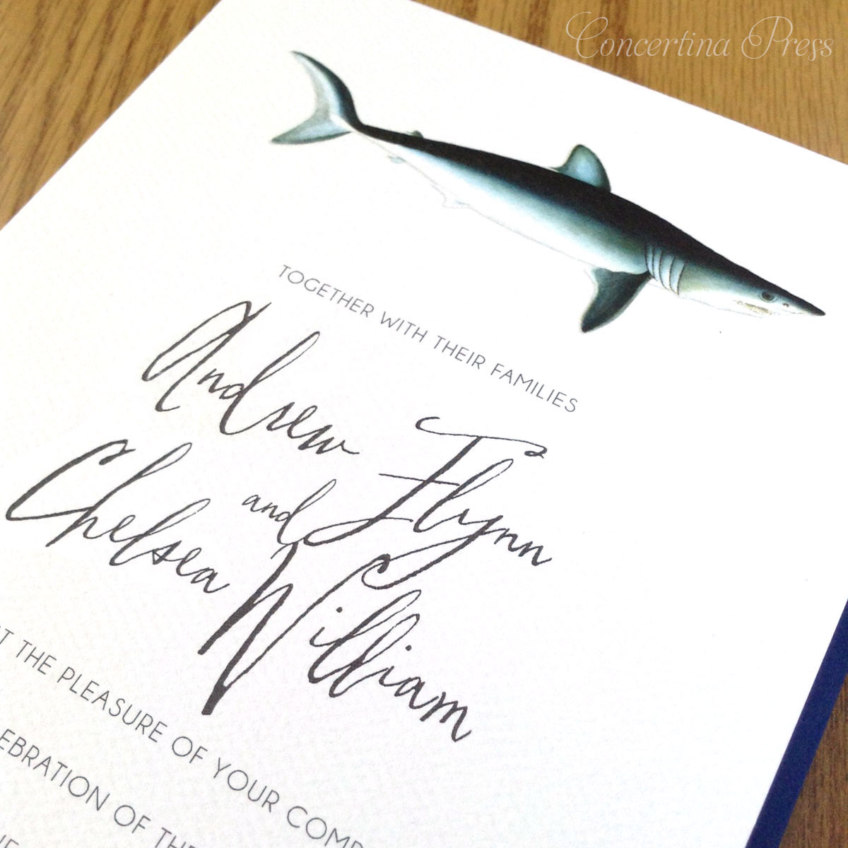 Shark Wedding Invitations with Coral Reef RSVP from Concertina Press