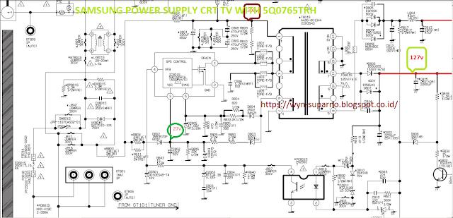 ingin berbagi ilmu dan pengalaman skema regulator dengan 5q0765rth pada samsung tv crt. Black Bedroom Furniture Sets. Home Design Ideas