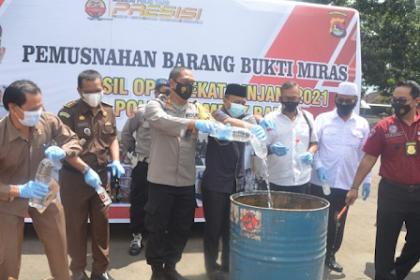 Polres Lombok Barat Musnahkan Hasil Operasi Pekat Rinjani 2021