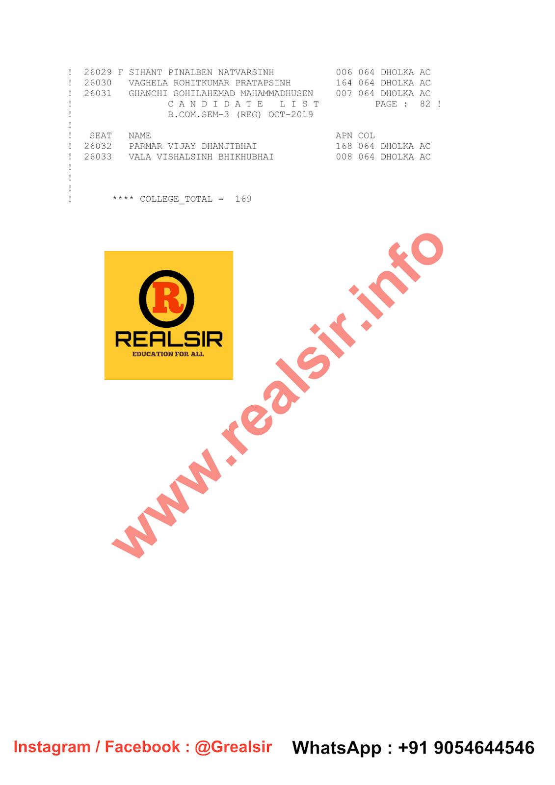 B.COM SEM - 3 (Regular) Candidate List - 2019 - Dholka College