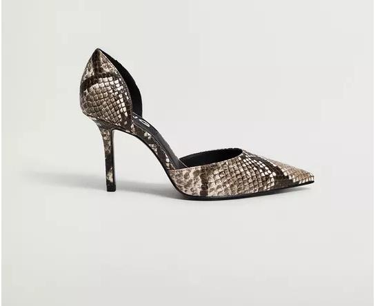 Pantofi cu toc Mango cu snake print si decupaje