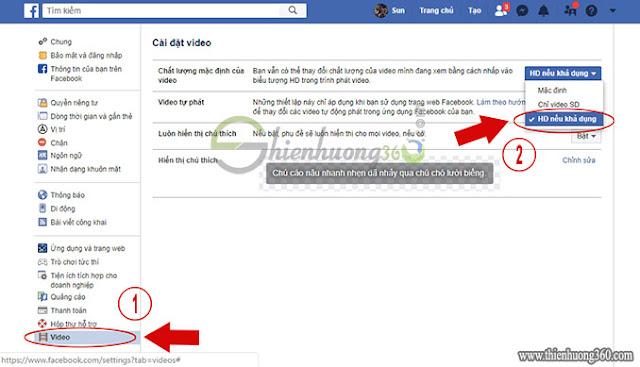 Hướng dẫn điều chỉnh hiển thị tự động video chất lượng HD trên Facebook