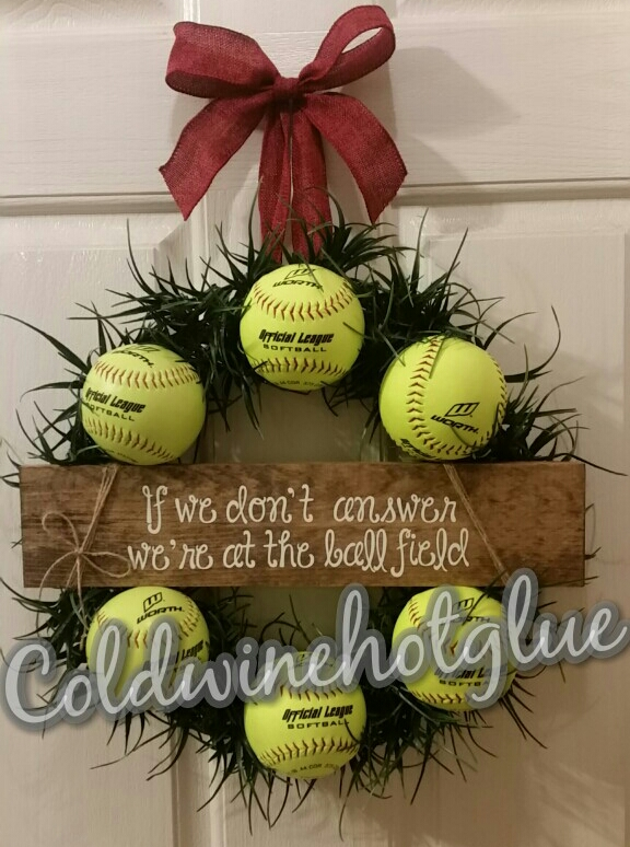 Cold Wine And Hot Glue Baseball Or Softball Wreath Easy Diy