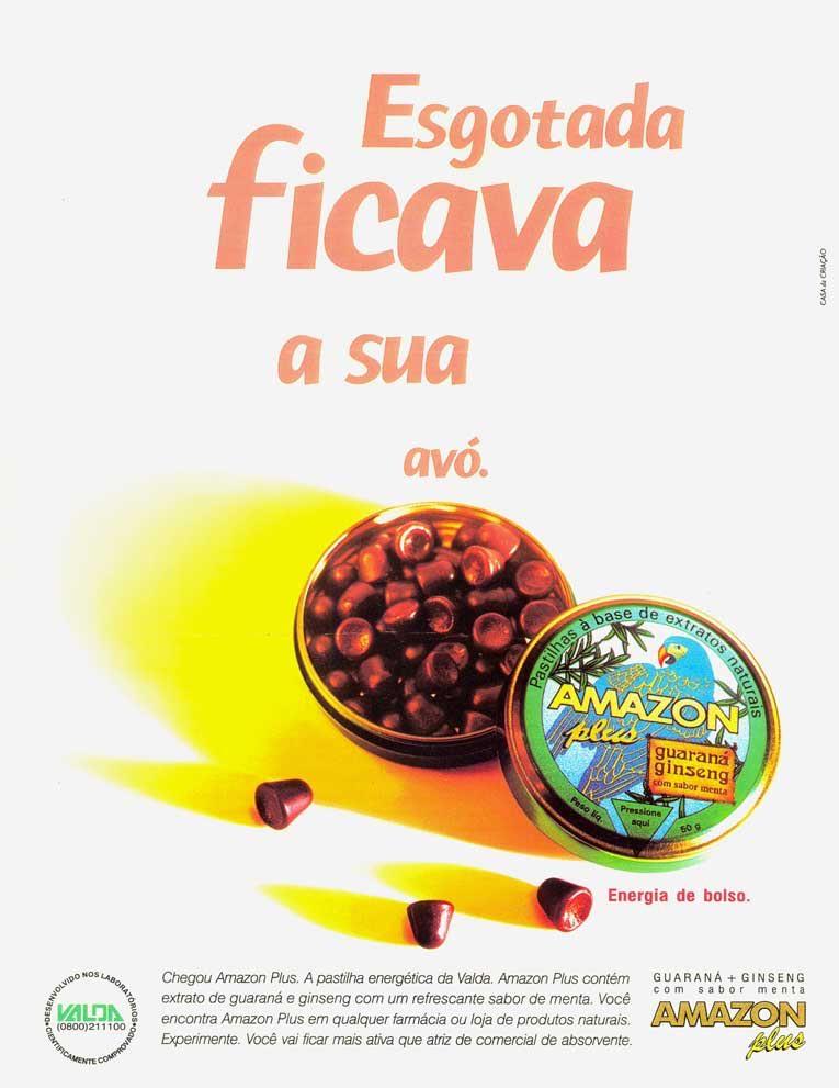 Anúncio antigo das Pastilhas Valdas Amazon Plus em 1996
