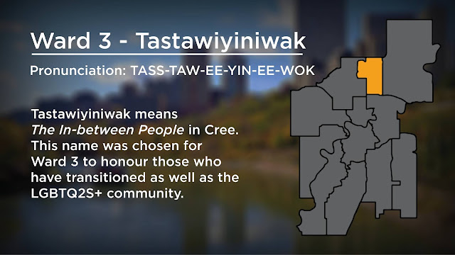 """Image showing map of Edmonton with Ward 3: Tastawiyiniwak highlighted. Text says """"Tastawiyiniwak means the In-between People. This name was chosen for Ward 3 to honour those who have transitioned as well as the LGBTQ2S+ community."""""""