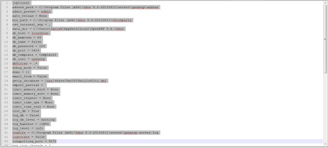 Odoo Configuration File