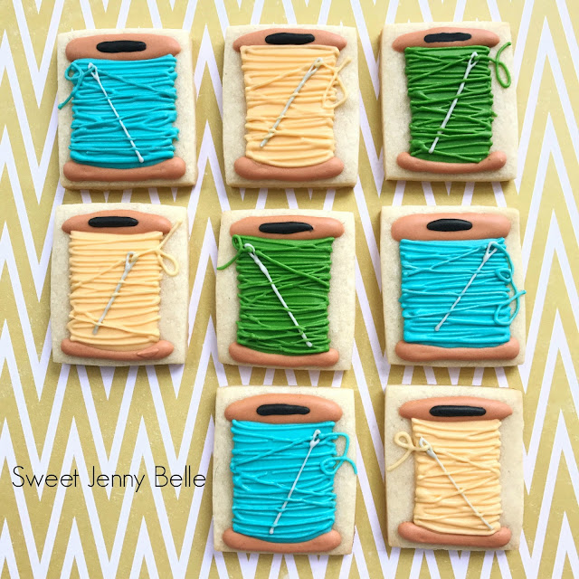 quilting thread decorated sugar cookies