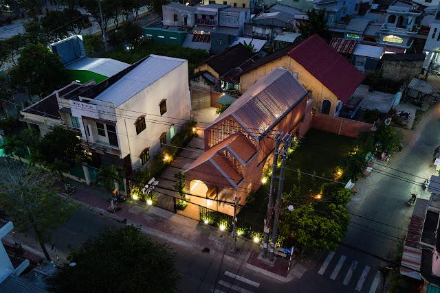 aerial view of modern brick home in Vietnam