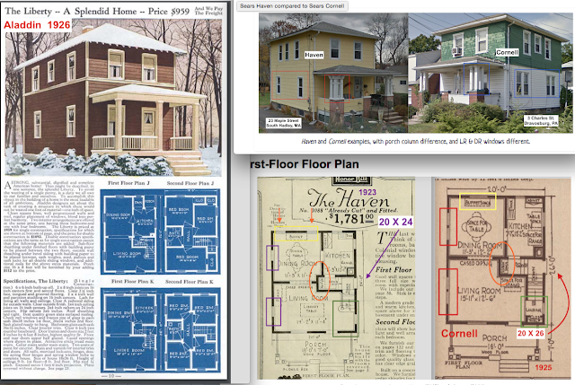 comparison of floorplans and exterior of Aladdin Liberty and Sears Haven and Sears Cornell