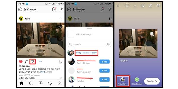 Cara Repost Postingan di Instagram Story