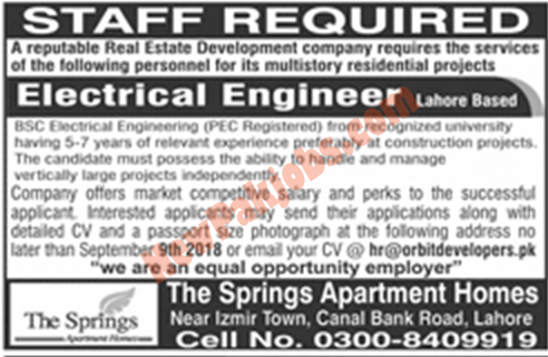 Job for Electrical Engineer In Lahore