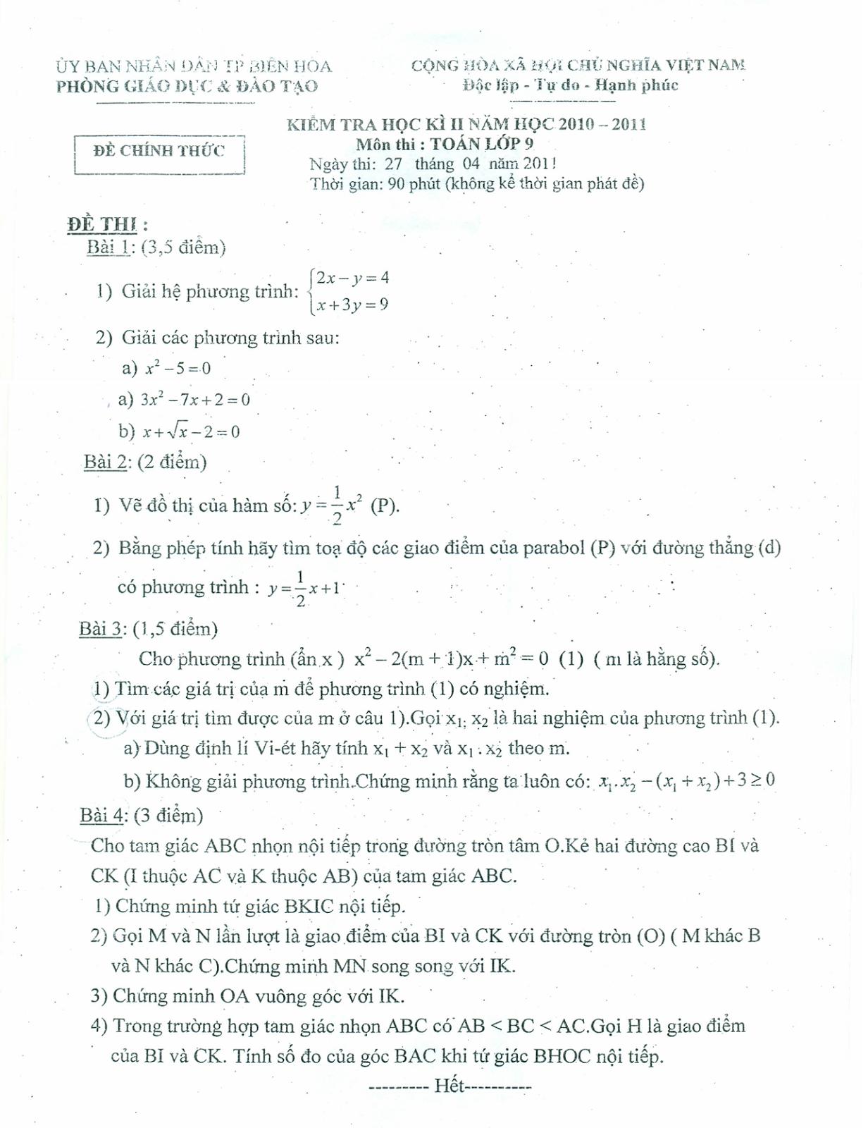 Đề thi học kỳ 2 môn toán lớp 9 tỉnh Đồng Nai năm 2011