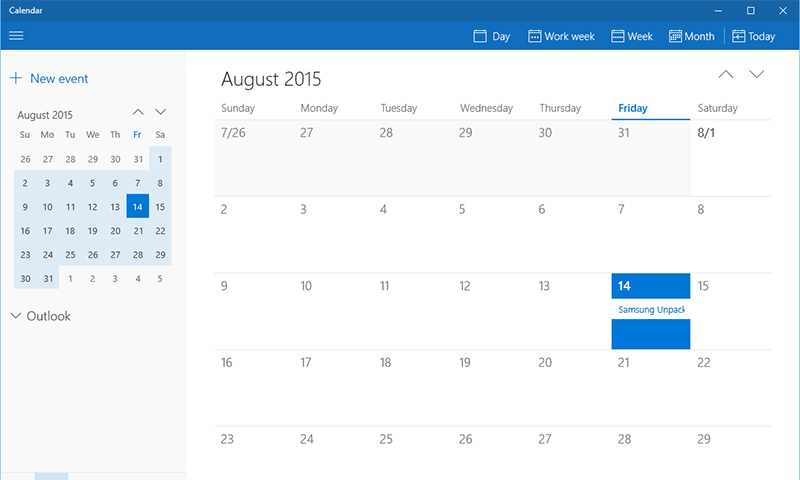 Calendar Windows 10