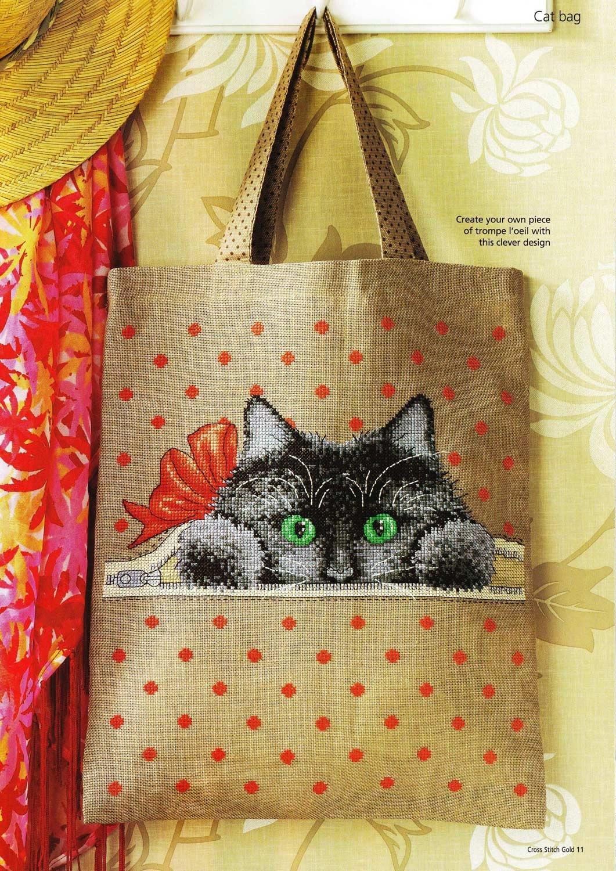 Кот на сумке - схемы вышивки крестом (4)
