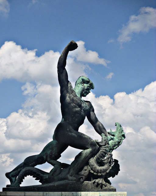 Statue representing the battle with evil on Gallert Hill in Budapest