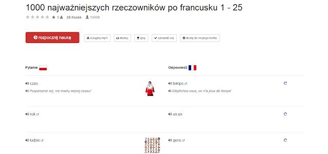 """Recenzje #16 - """"Fiszkoteka.pl"""" po raz drugi - przykładowa lista słówek - Francuski przy kawie"""