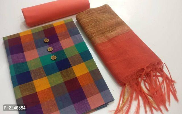 Handloom Cotton Check Dress Materials