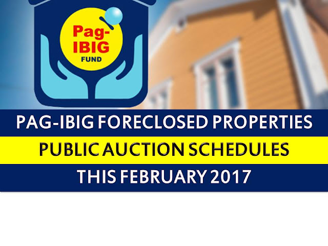 Pag IBIG fund acquired assets in National Capital Region shall be for sale through public auction starting February 08 to 23, 2017.  So if you are looking for prime properties, condominium units, lots, house and lots, townhouse and other properties, do not miss this opportunity.