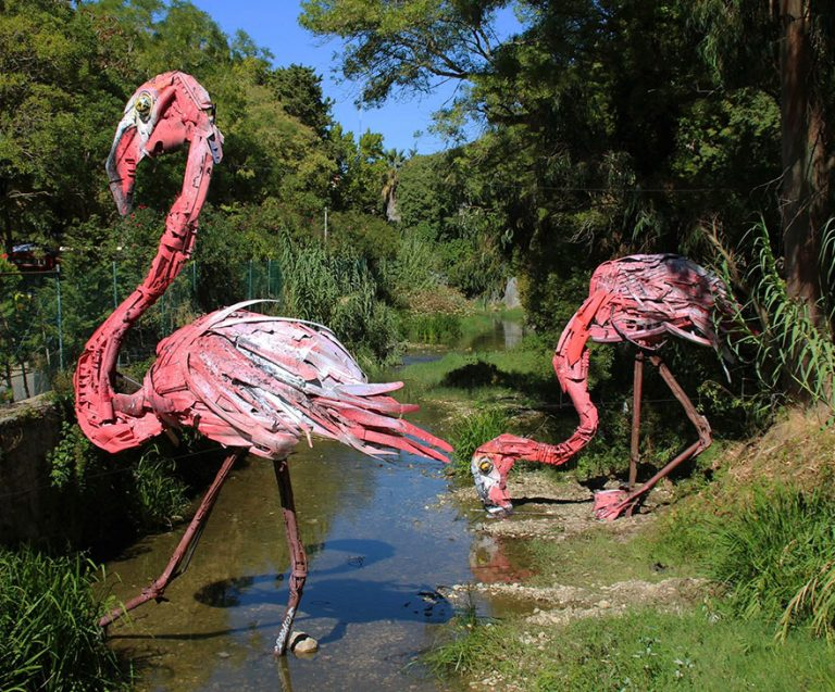 Street Artist Transforms Ordinary Junk Into Animals To Remind About Pollution - Flamingos