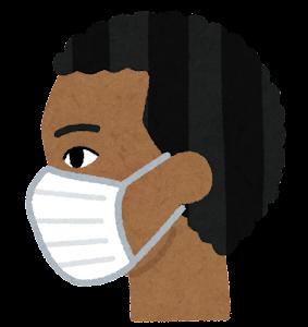 マスクを付けた人の横顔のイラスト(黒人男性)