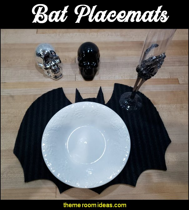 Bat Placemats gothic kitchenware halloween decorations Vampire Goth Halloween Dinner table