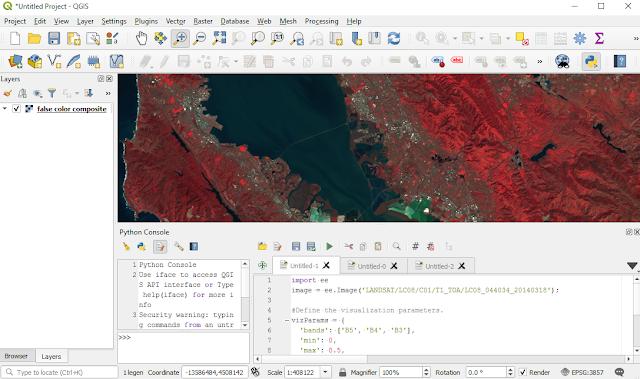 Landsat 8 satellite imagery false color composite in QGIS