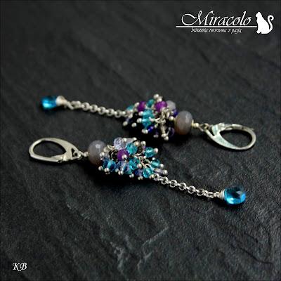 Miracolo, kolczyki z agatami i topazami, jadeit, topaz, agat, kwarc, blue topaz earrings