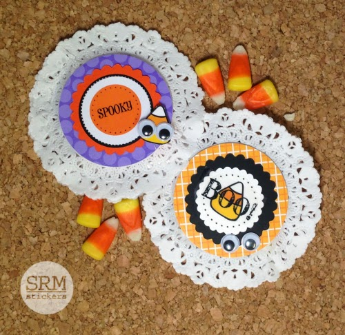 SRM Stickers Blog - Halloween Doily Treats by Christine - #halloween #stickers #punchedpieces #favors #treat bags