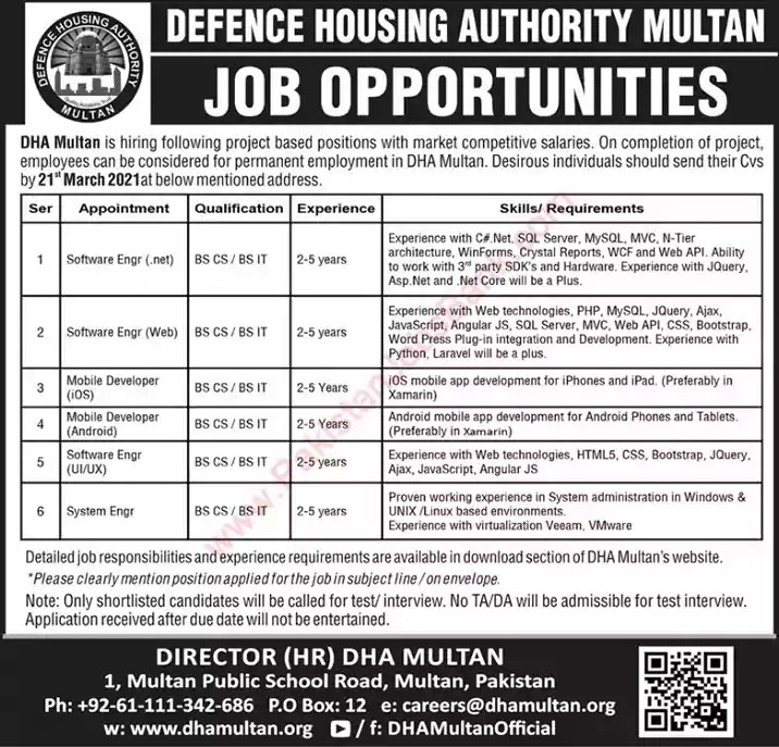 Latest Jobs in Pakistan DHA Multan Jobs 2021