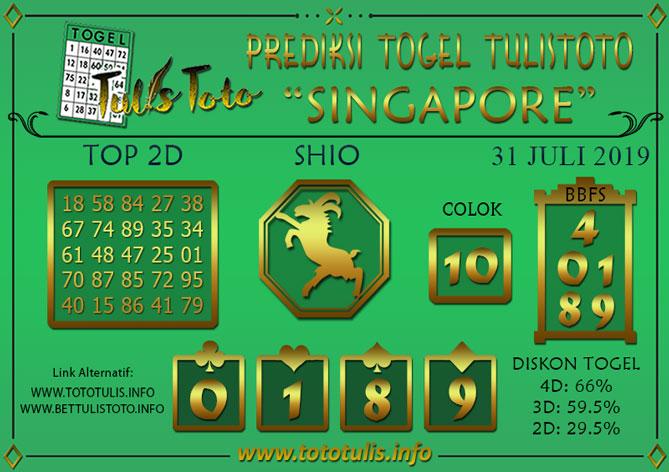 Prediksi Togel SINGAPORE TULISTOTO 31 JULI 2019