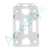 Porta credencial simple blanco transparente vertical