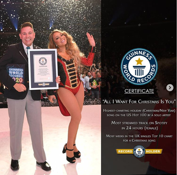 """Mariah Carey Breaks 3 Guinness World Records With Hit Song, """"All I Want For Christmas Is You"""""""
