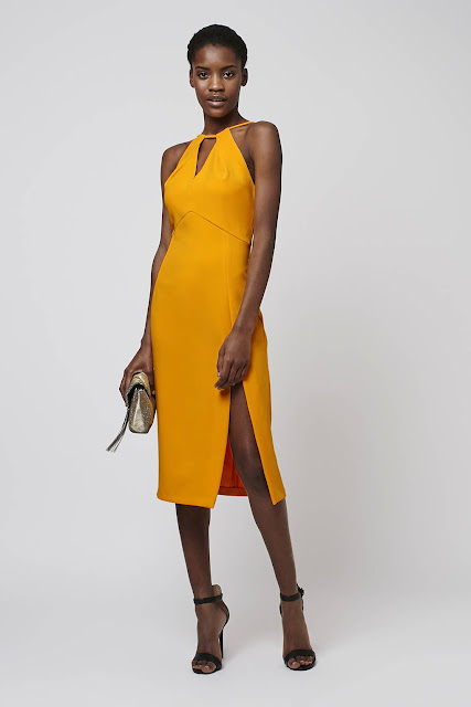 yellow strap midi dress, orange strap midi dress, front split midi dress,