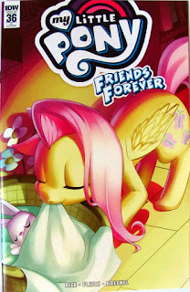 MLP Friends Forever #36 RI cover showing Fluttershy tucking Angel into bed