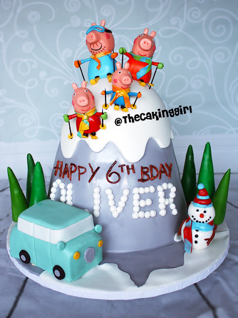 peppa pig fondant custom birthday cake skiing