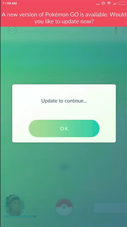Update Pokémon GO