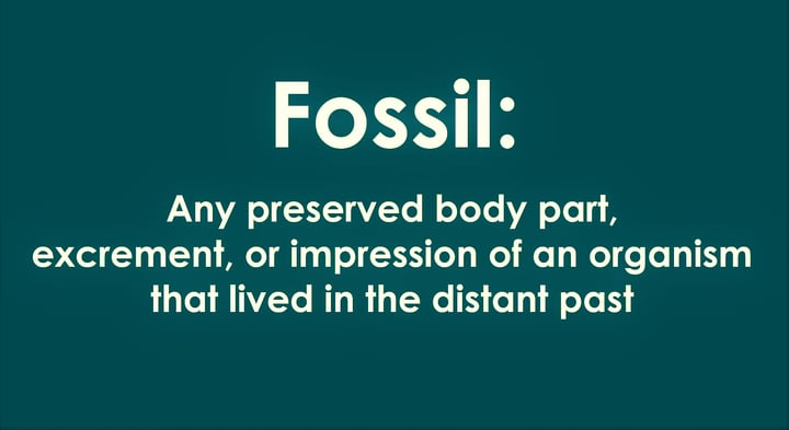 a fossil is any preserved body part excrement or impression of an organism that lived in the distant past.