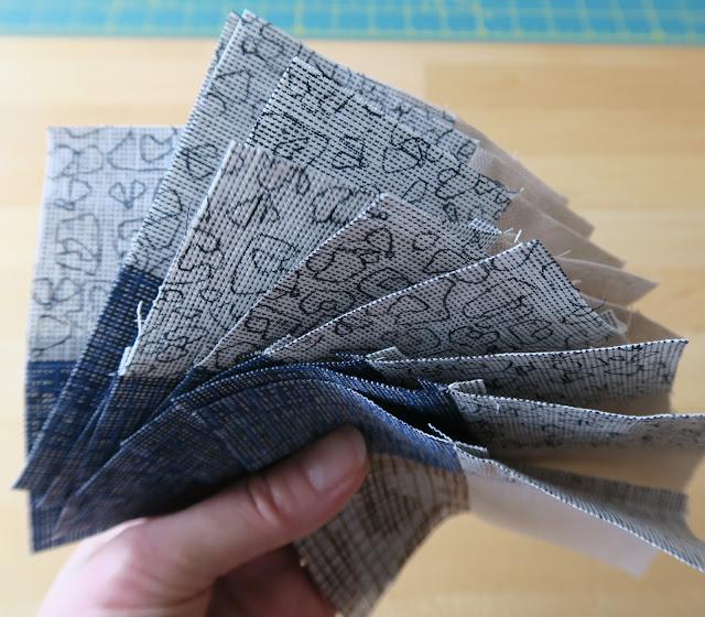 Luna Lovequilts - Gingham quilt block - Piecing in progress